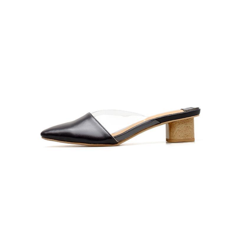 Wellwalk Temizle Terlik Kadın Katır Ayakkabı Moda Slaytlar Bayanlar Ahşap Topuk Terlik Kadın Marka Katır Elbise Kadın Ayakkabı