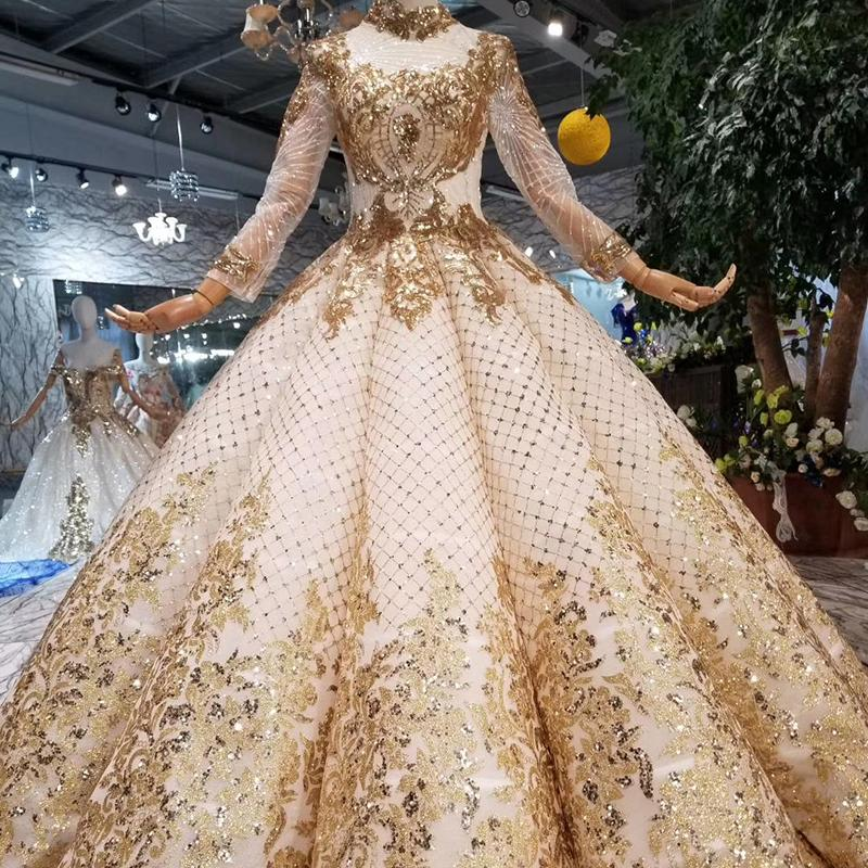 d9b3da5a0eb55 Luxury Dubai Evening Dress High Neck Long Sleeve Ball Gown Curve Shape  Women Occasion Swollen High Quality Prom Dress 2019 New Design Style