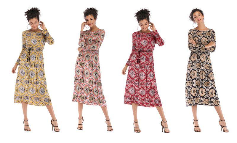 dd3033ea6630 Women Dress Vintage Boho Maxi Beach Porcelain Floral Printed Long ...