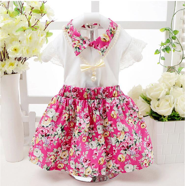 good quality summer baby girl clothing set kids clothes new fashion cotton children clothing girls Lace flowers princess dress