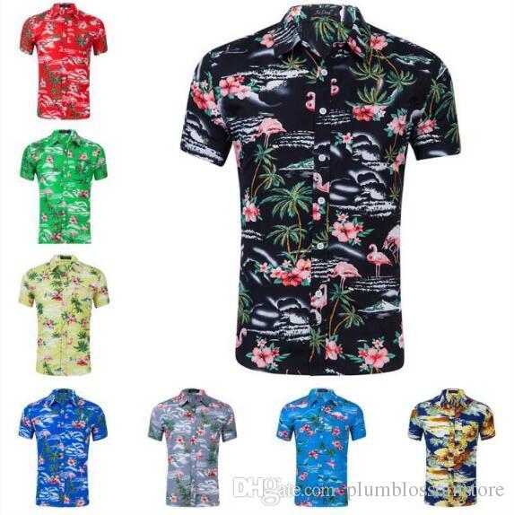 bcd115682 Hombres Camisas Casuales De Verano Playa Hawaiana De Manga Corta Flamenco  Tropical Floral Estampado Camiseta De Vacaciones Camisas Masculinas Tops  Más El ...