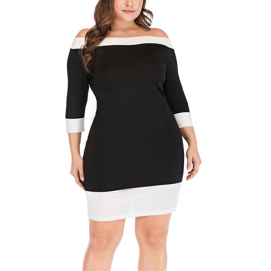 Plus Size Mini Dress Women Long Sleeve Off Shoulder Dresses Black White  Patchwork Women Mini Dress Female bodycon vestido /PT