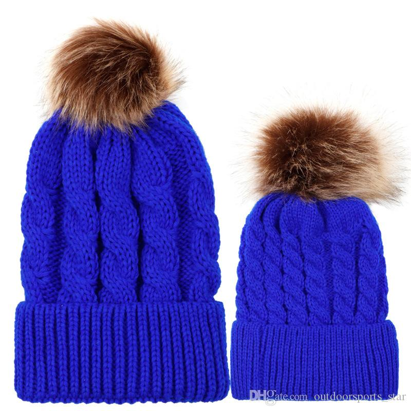 859b6f9b7 2019 2PCS/set Mom Mother Baby Knit Pom Bobble Hat Kids Girls Boys Winter  Warm Beanie Hats Accessories BH373