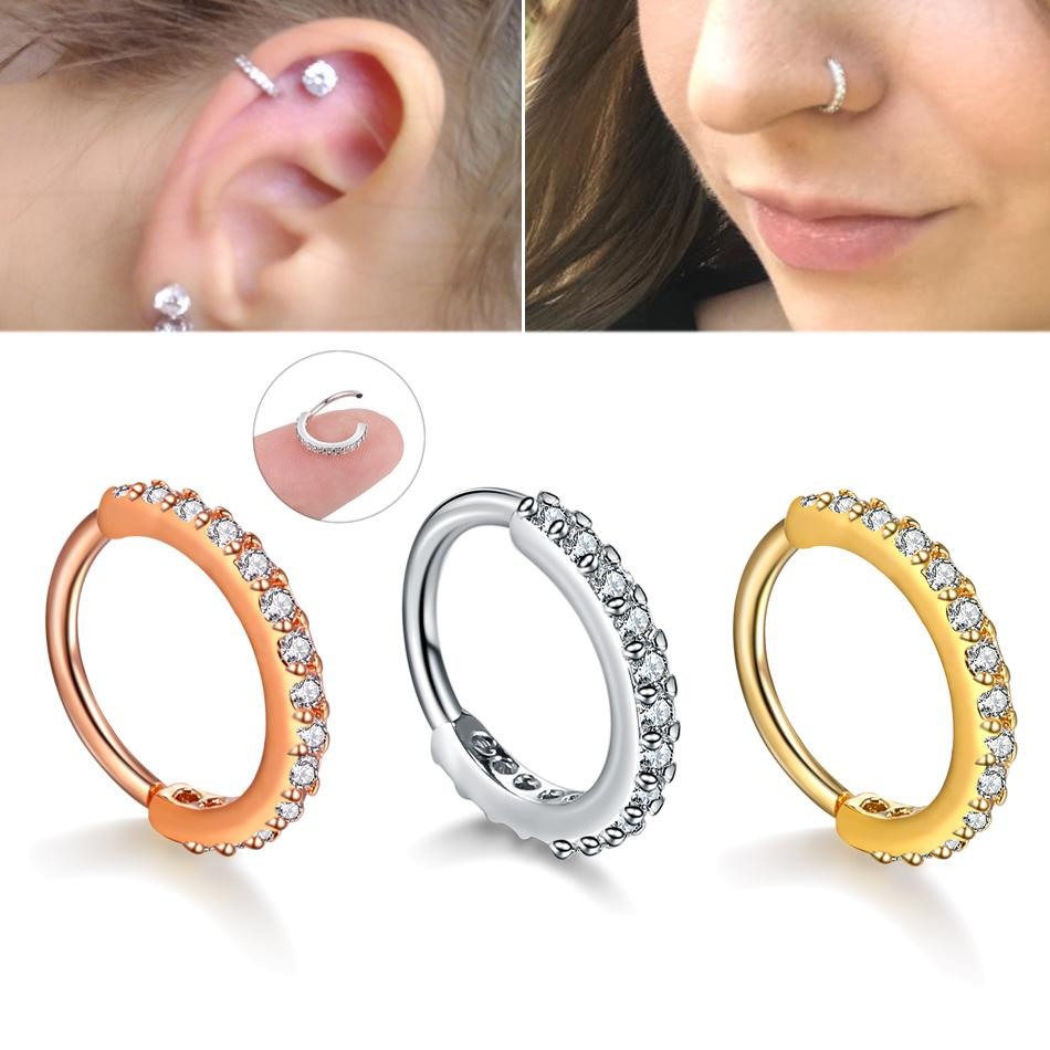 dd0613511d8d8 Small Size 1piece Real Septum Rings Pierced Piercing Septo Nose Ear  Cartilage Tragus Helix Piercing Clicker Rings Body Jewelry C19041301