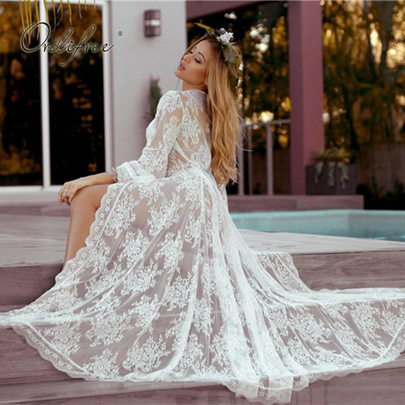 4941cb106712d Ordifree Summer Boho Women Long Beach Loose Sexy Transparent White Lace  Maxi Dress Cardigan Q190524