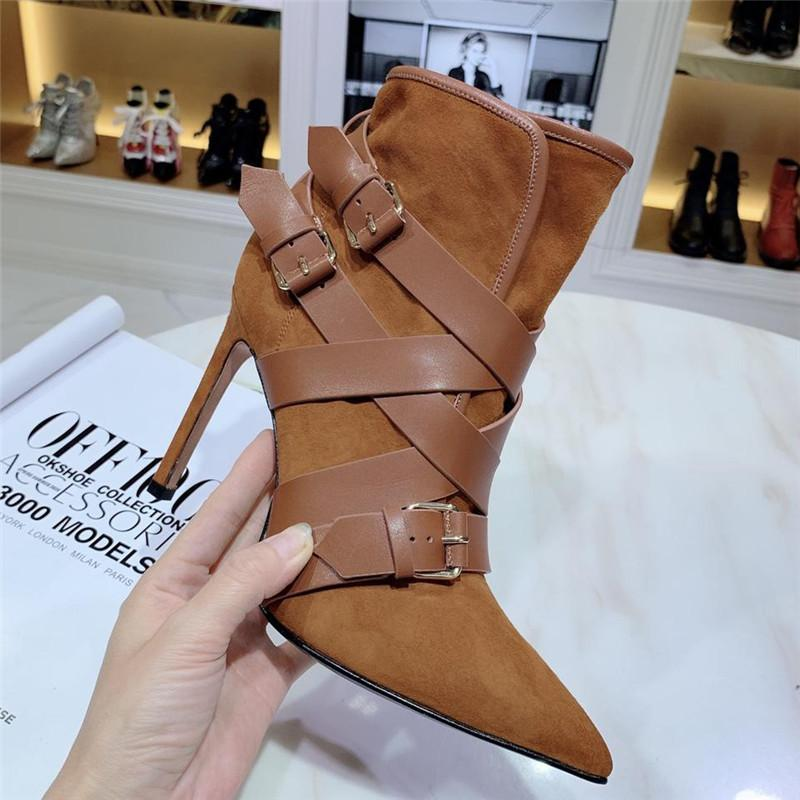 Hot Sale Women Designer Luxury Boots Fashion Casual Shoes Office Lady Brand New High Heel 10.5CM Boots Leather Shoes 911293CE