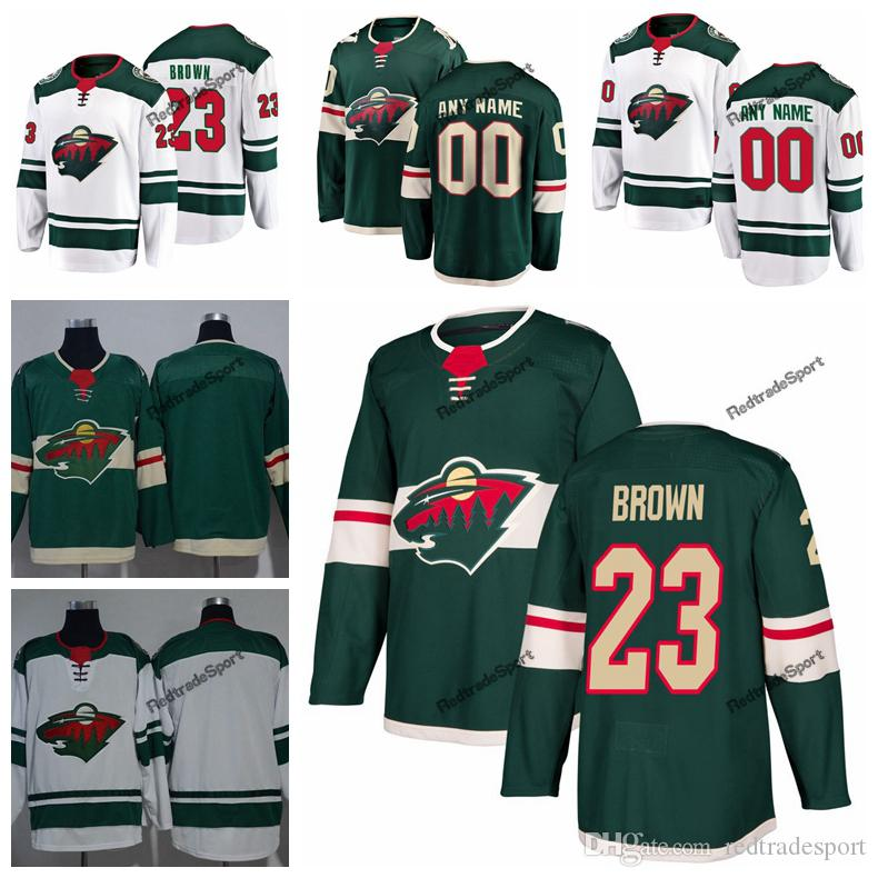 finest selection 611fd 1a06e 2019 J.T. Brown Minnesota Wild Hockey Jerseys Mens Custom Name Home Green  White #23 JT Brown Stitched Hockey Shirts S-XXXL
