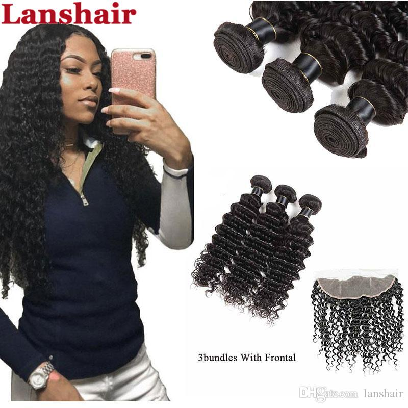 9A Brazilian Body Wave 3 Bundles with 13X4 Lace Frontal Peruvian Deep Wave Kinky Curly Human Hair Bundles with Closure Straight Closure