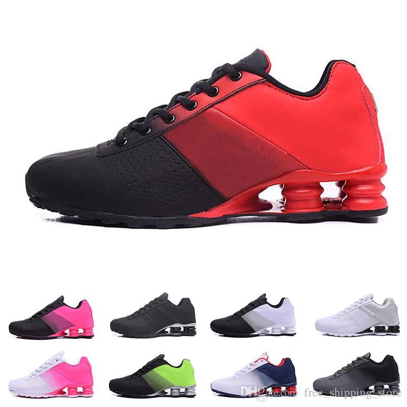 nike shox Original Deliver 809 zapatos para hombres, mujeres, diseñador, para hombre, entrenador, triple, negro, blanco y púrpura, zapatos para correr