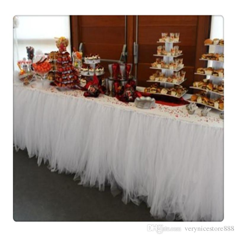 Romantic Wedding Party Birthday Supply Dessert Station Gauze Decoration Table Skirts for Wedding Party Decoration Free Shipping