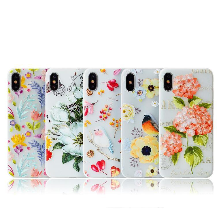 3D Flower Phone Case Cover for Iphone X Xs MAX XR Xmas 10 8 7 6 6s Plus Cases I Phone X 8plus Floral Designer Matte Tpu Painting New