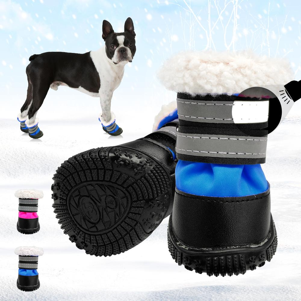 8d6c04c124c4c Winter Warm Dog Shoes Non-slip Cotton Reflective Pet Shoes For Small Medium  Dogs Chihuahua Snow Thick Dog Socks