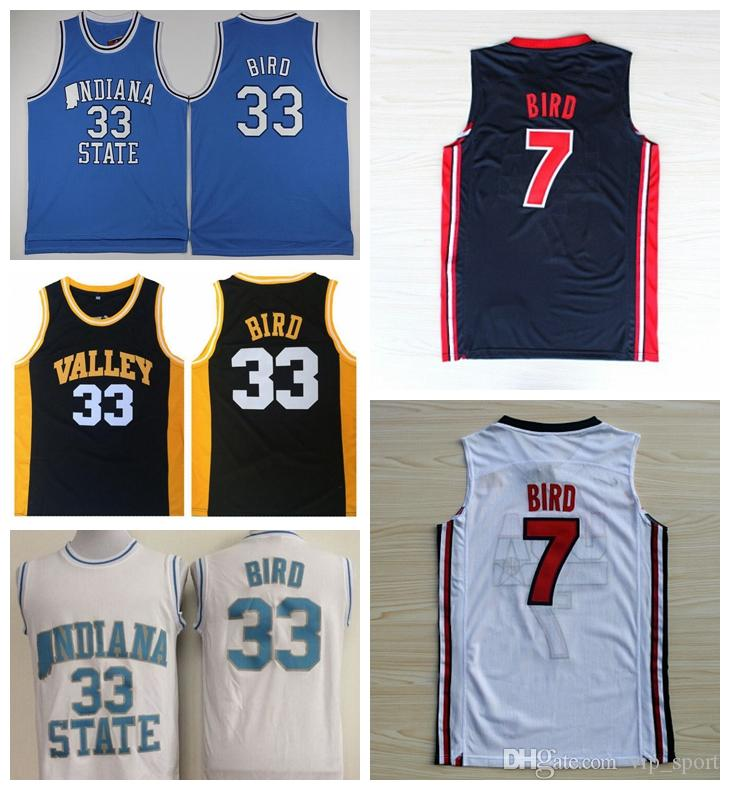 size 40 61f36 7e1b4 College Larry Bird Jersey 33 1992 Dream Team One 7 Larry Bird Basketball  Jerseys Springs Valley Indiana State Sycamores High School