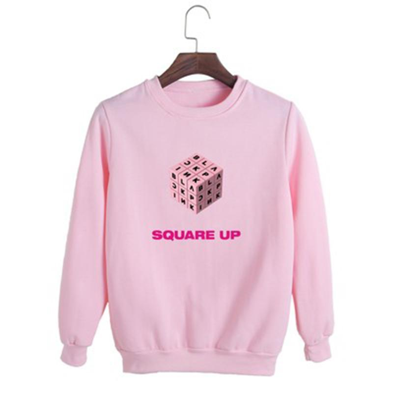 Drop Shipping KPOP Blackpink Album SQUARE UP O-Neck Cotton Pullover Long  Sleeve Tops Pullovers Sweatshirts Womens Clothes