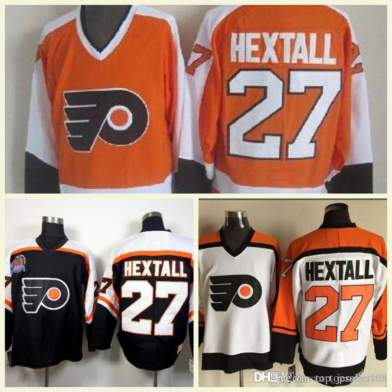 2018 Mens 27 Ron Hextall Orange Black White Vintage CCM Retro 100 ... 58a7e8604