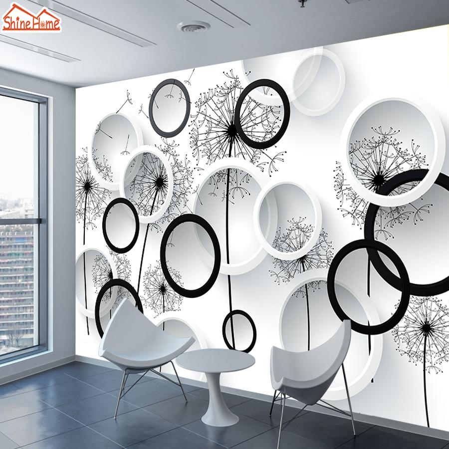 ShineHome-Black White Dandelion Floral Brick Wallpaper 3d for Walls Wallpapers 3 d Living Room Hall Wall Paper Mural Roll Home