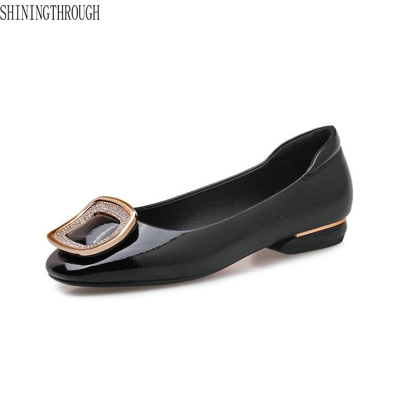 2019 Flat Shoes Woman Patent Leather Women Shoes Summer Spring