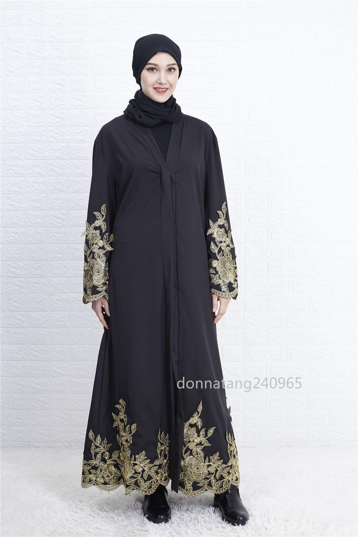 9d9aa6d9fef Women Black Abaya Dubai Islamic Clothing Maxi Muslim Dress Ukraine Long  Caftan Lace Patchwork Bangladesh Kaftan Turkey Robe 2019 Blue Lace Maxi  Dress Women ...