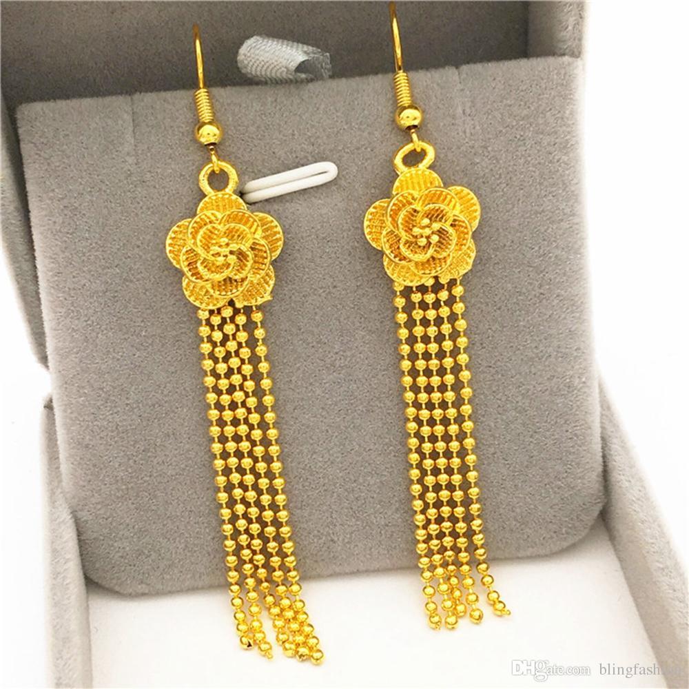 024976085f40 Compre Elegante Flor Borla Pendientes Largos 18 K Oro Amarillo Lleno De  Boda Para Mujer Cuelga Los Pendientes De Regalo De Joyería De Moda A  9.05  Del ...