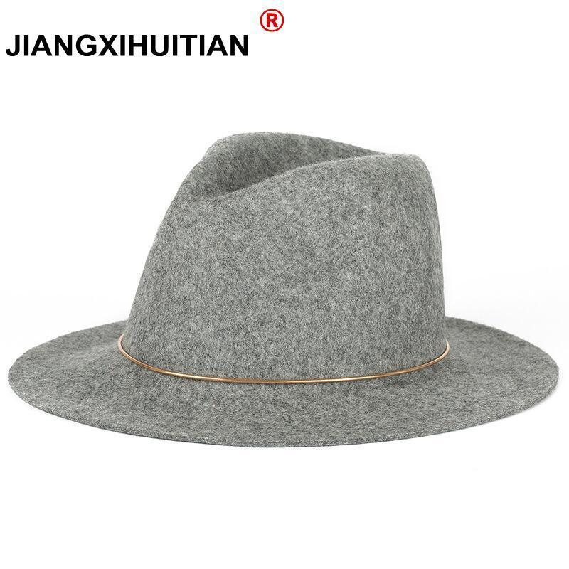 c826057f145e6 2019 2017 New Feather Hats For Women Soft Vintage Wide Brim 100%Wool ...