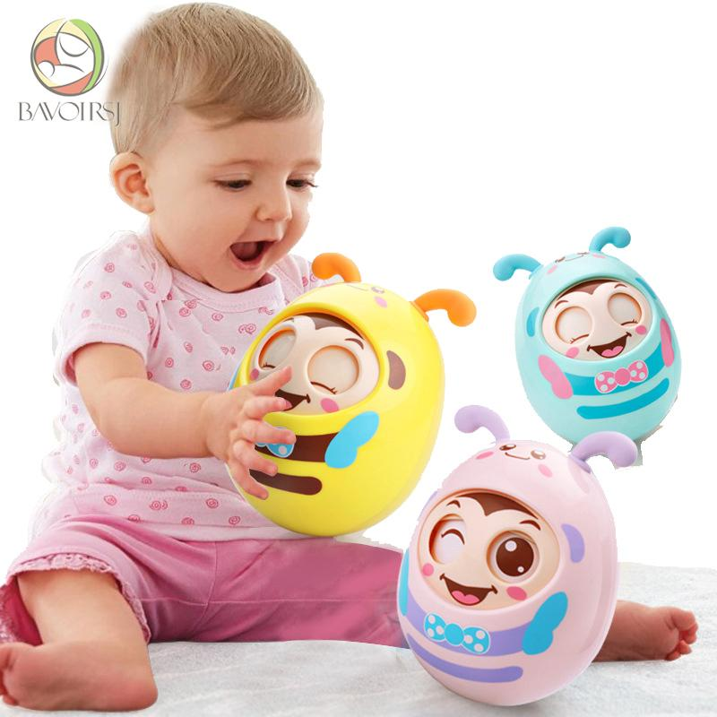 Cartoon Round Blink Tumbler Safe Abs Materials Early Education Montessori Toys Baby Music Rattle Toy For Kids T0058 Q190604