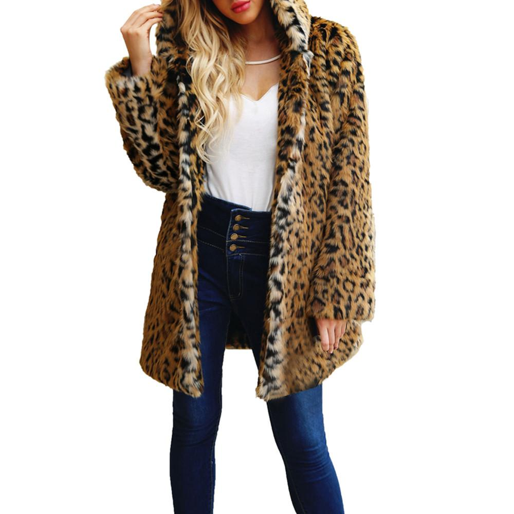 99b1b682d8e Plus Size Casual Thick Warm Hoodies Winter Leopard Long Faux Fur ...