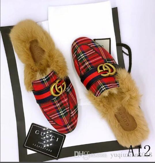 Acquista Le Migliori Scarpe Firmate Di Marca Gucci Moda Casual Da Donna  Casual In Pelliccia Scarpe Da Uomo In Pelle Sandali Pantofole In Pelliccia  35 45 ... f19b28337ddd