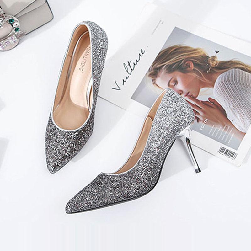 0e97600f64e Dress Wholesale Shoes Women Pumps Bling High Heels Women Pumps Glitter High  Heel Shoes Woman Sexy Wedding Shoes Gold Silver 35 40 Mens Casual Shoes  Penny ...