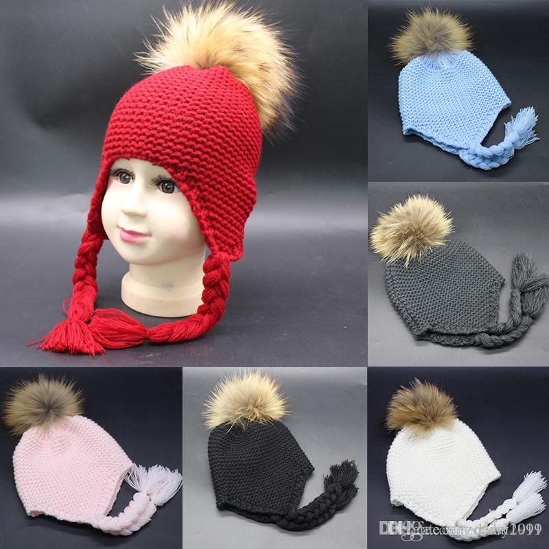New winter soft knitted child hats Toddler Baby Earmuffs Knitted Warm Winter Rope Hairy Boy Girl Cap Hat beanie 15 cm real fur ball