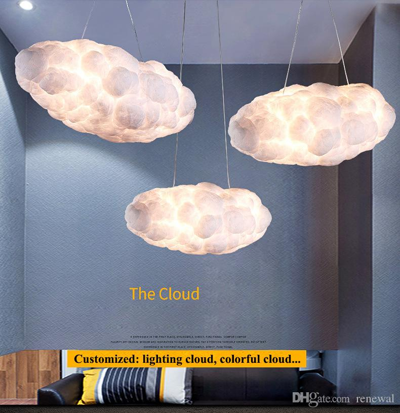 Modern Floating Cloud Led Chandelier Lighting White Cotton Living Room Led Chandeliers Lamp Dining Room Hanging Lights Fixtures