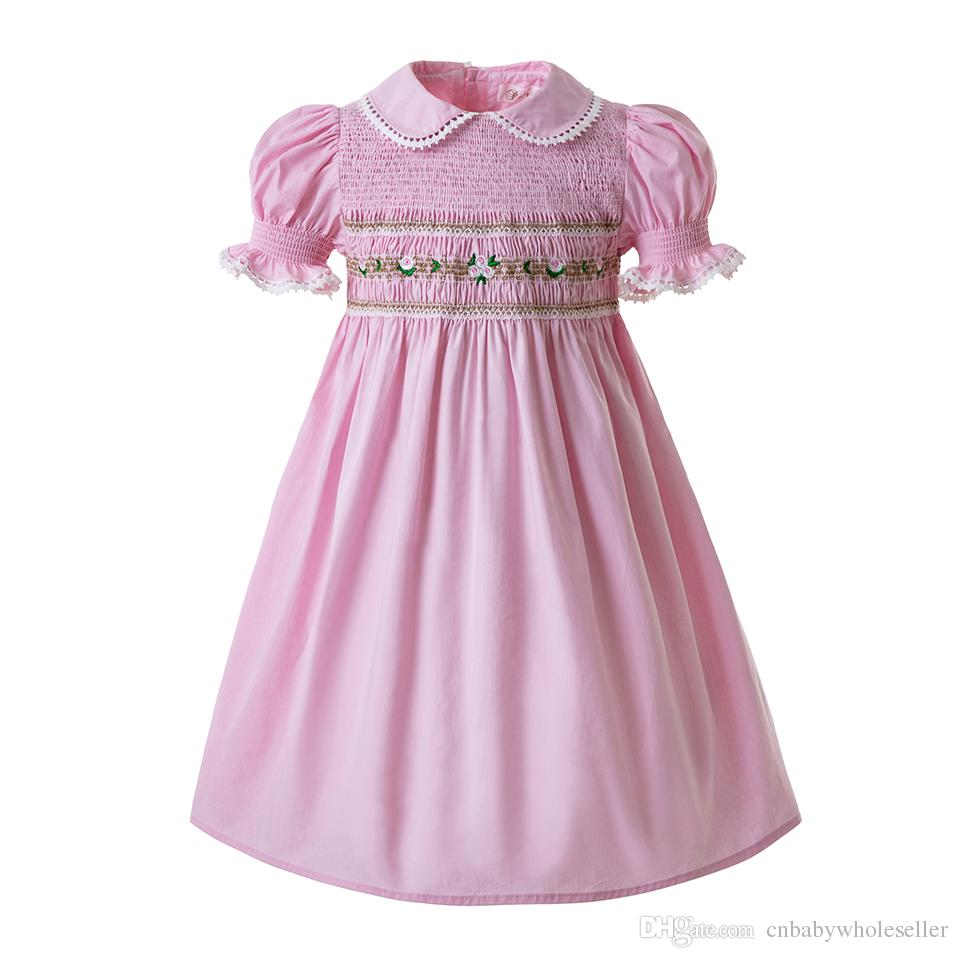 ea16dbae29211 Pettigirl Kids Designer Clothes Girls Summer Dresses For Toddlers Doll  Collar Smocked Bubble Baby smock Pink Girls Costumes G-DMGD0010-A185