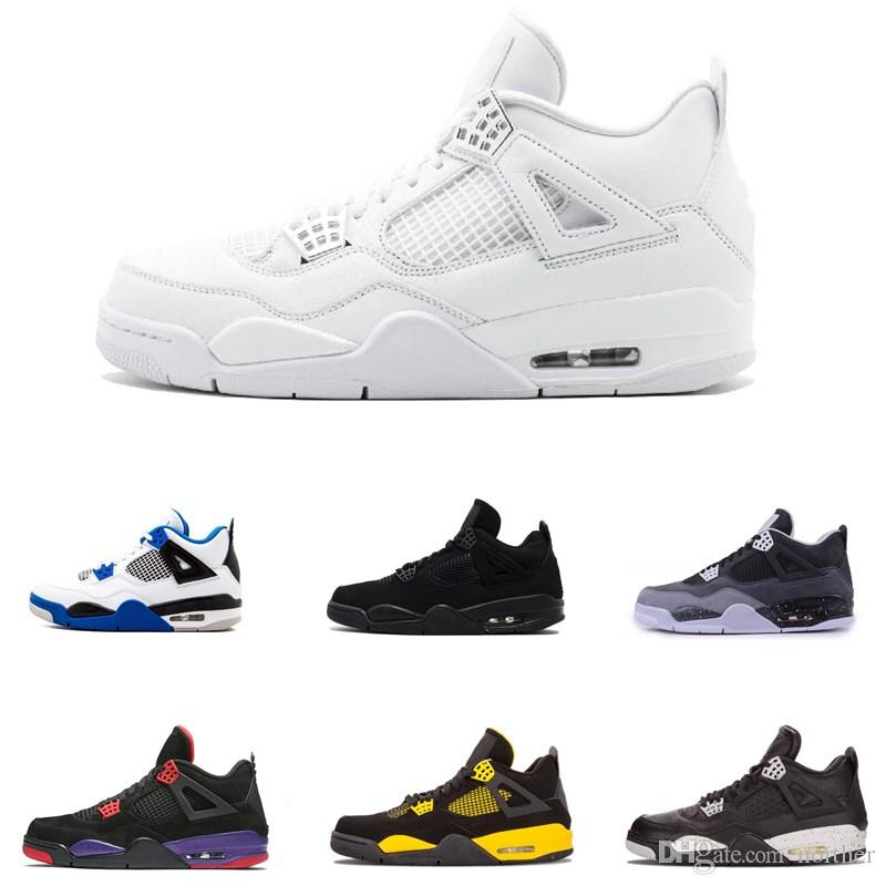 super popular 9f232 d4a1b Acheter Air Jordan 4 2019 All White Meilleures Chaussures De Basketball  Pour Hommes 4 Motosports Militaires Bleu Alternate 89 Pure Money Nouveaux  Baskets De ...