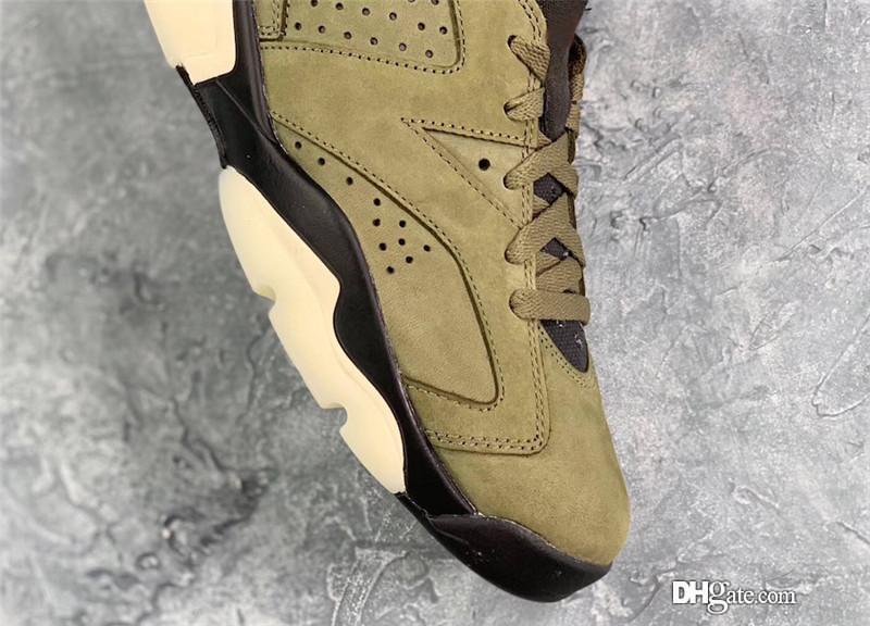 2019 Authentic Travis Scott Air 184Jordan 6 Medium Olive Cactus Jack CN1084 200 GLOW IN THE DARK Green Suede Men Basketball Shoes Sneakers