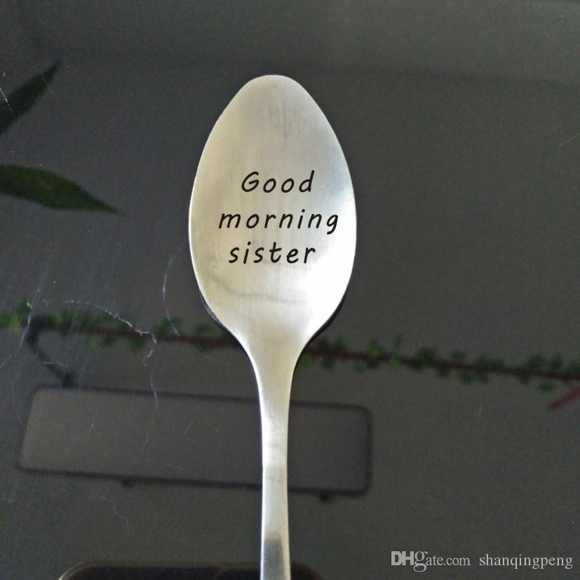 Stainless Steel SpoonGood Morning Sister Spoon Gift In Law Birthday Wedding