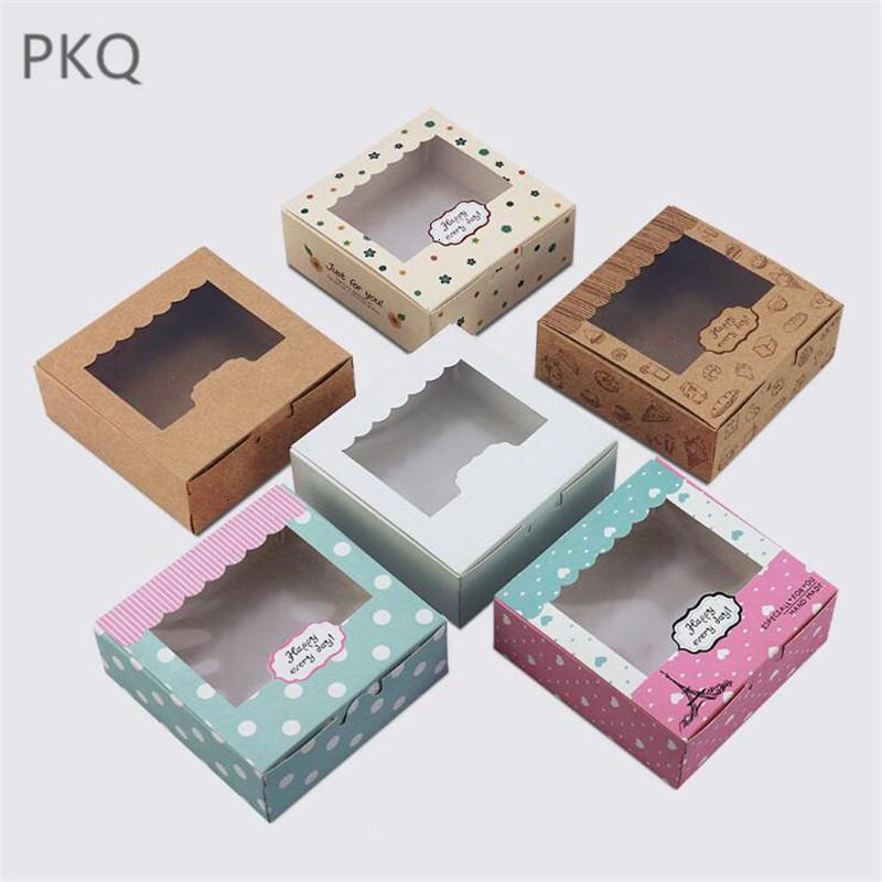 10pcs 6 color Kraft Paper cake box with clear pvc window, Cookies Biscuit cupcake paper box,window gift packaging box for cake SH190920