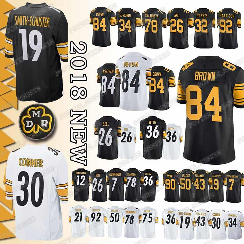 pretty nice 0de9d e3acd TOP Pittsburgh Steeler Jersey 19 Juju Smith-Schuster 30 James Conner 90  T.J. Watt 7 Ben Roethlisberger 78 Alejandro Villanueva Jerseys Cheap