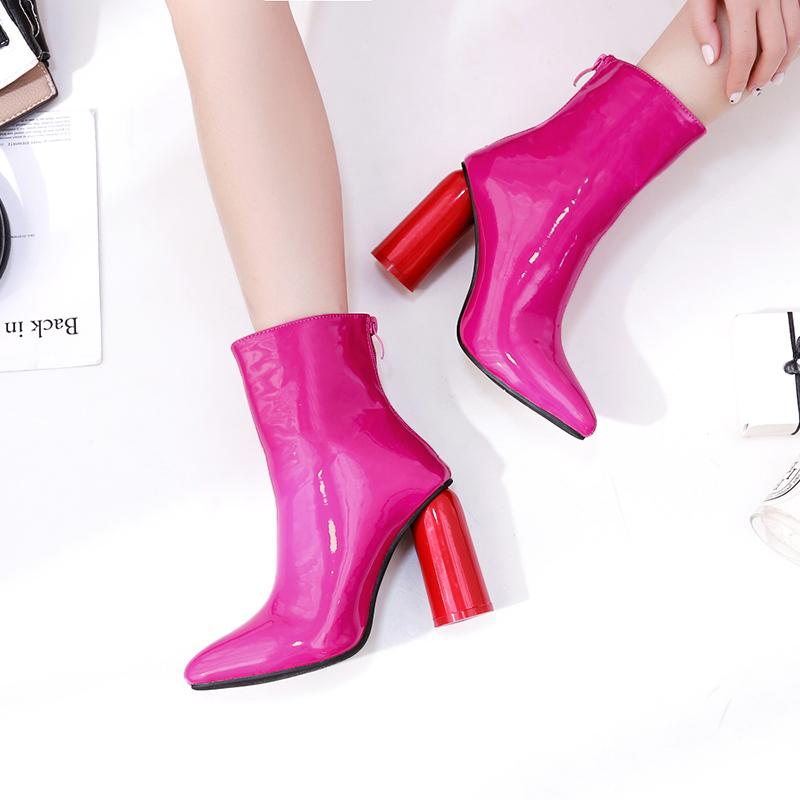 2019 Women Red Rose Spring Boots Autumn Leather High Zipper Ankle Martins Boots Female Ladies Dress Short Fashion Fetish Shoes
