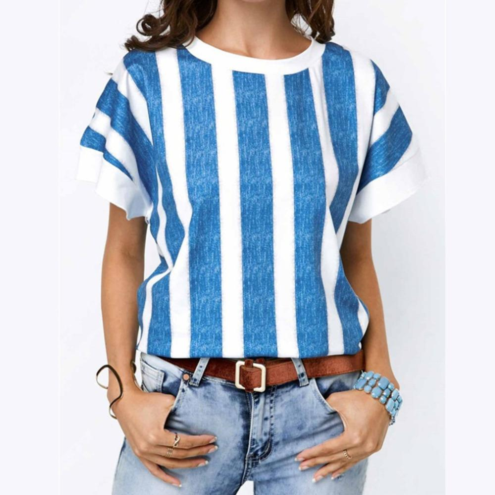c6105d579 New Style Vertical Stripes Summer Tee Tops Female Casual T Shirt Solid O  Neck Women Batwing Sleeve Shirts Plus Size Streetwear Online T Shirt  Shopping Print ...