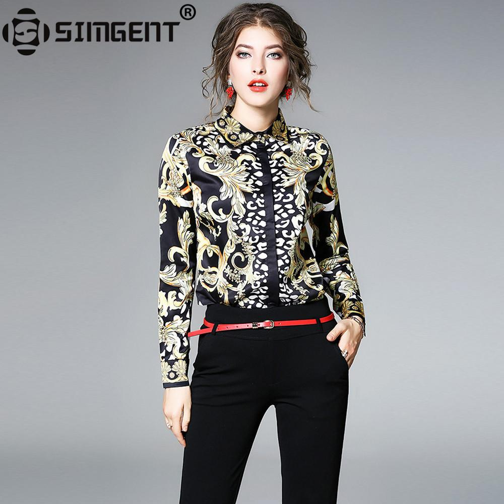 bas prix 5be32 ca7ae Simgent Blouses Shirts 2018 New Spring Long Sleeve Turn Down Collar Print  Women Blouse Tops Chemisier Femme Blusa Mujer Sg712063 T190409