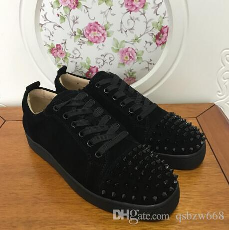 2019 fashion black suede & metal studded spikes casual shoes for men and women low top sneakers with soft bottom,genuine leather 36-47