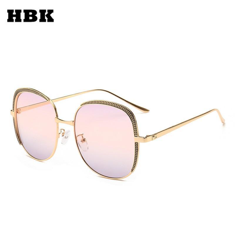 bc7065e7cc165 Compre HBK 2019 Moda Quadrado Óculos De Sol Das Mulheres Dos Homens Quadro  De Engrenagem Única Óculos Retro Para Masculino Feminino Do Vintage Shades  ...