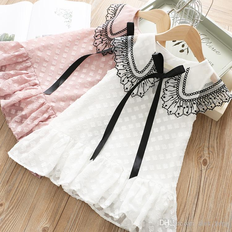 Girls Lace Dress 2019 Summer New Sweet Girls Big Lapel Lace Princess Dresses European Children Fashion Tutu Dress 2 Colors