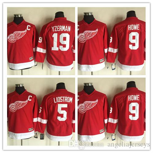 a16d86f4 2019 Youth Detroit Red Wings 5 Nicklas Lidstrom 100% Stitched CCM ...