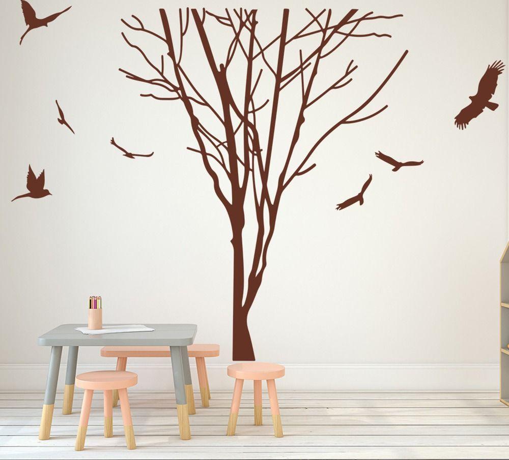 Satın Al Büyük Ağaç Dalı Gövde Kuşlar Duvar çıkartması Yatak Odası