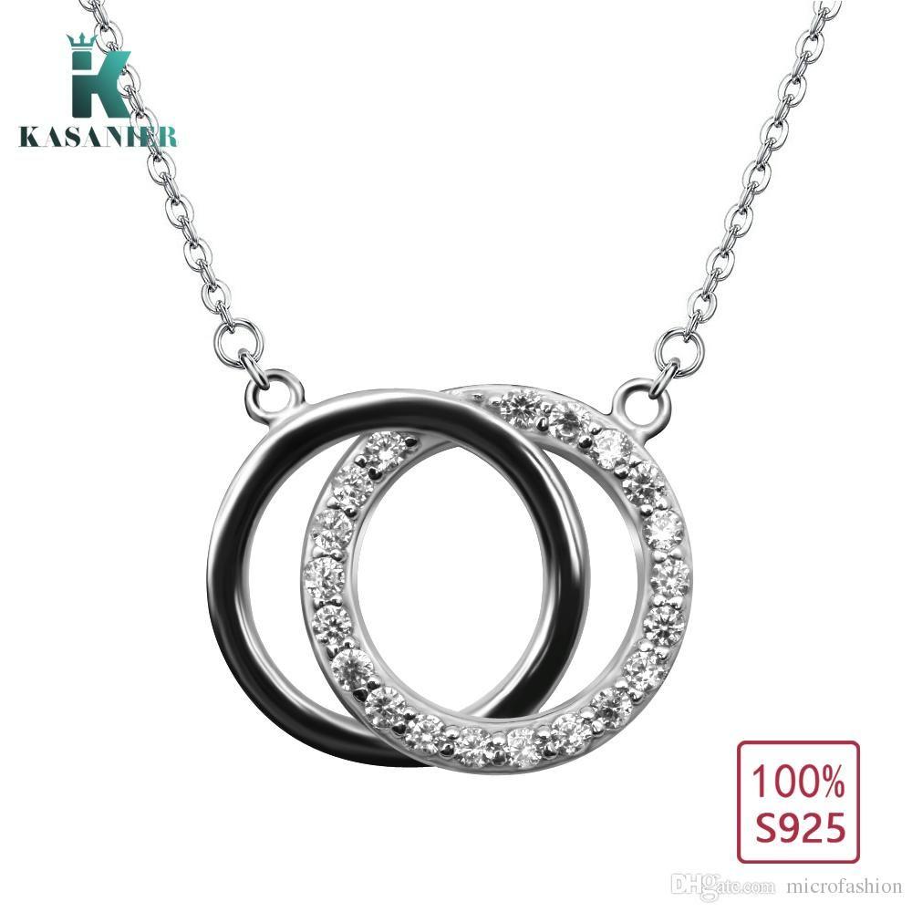 6d9c45df051 Wholesale KASANIER 925 Sterling Silver Clear Bezel Setting Zircon Double  Round Shape Pendants Necklace For Women Party Elegant Jewelry Diamond Heart  Pendant ...