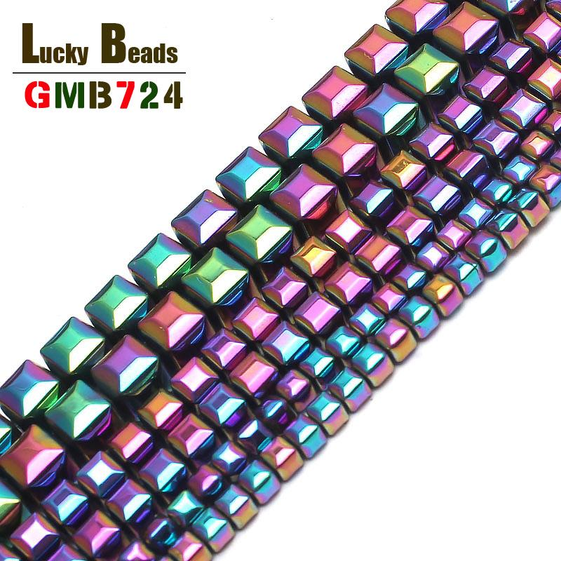 loose 3/4/6mm Natural Stone Coated Rainbow Hematite Cube Square Loose For Jewelry Making 15inches Spacer Beads Making Bracelet