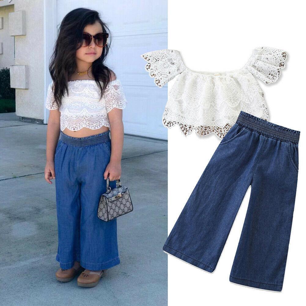 7b83090cd Fashion 2-7Y Kid Baby Girl Clothes Sets Lace White Off-Shoulder T-Shirt  Crop Tops+Jeans Pants Clothes 2PCS