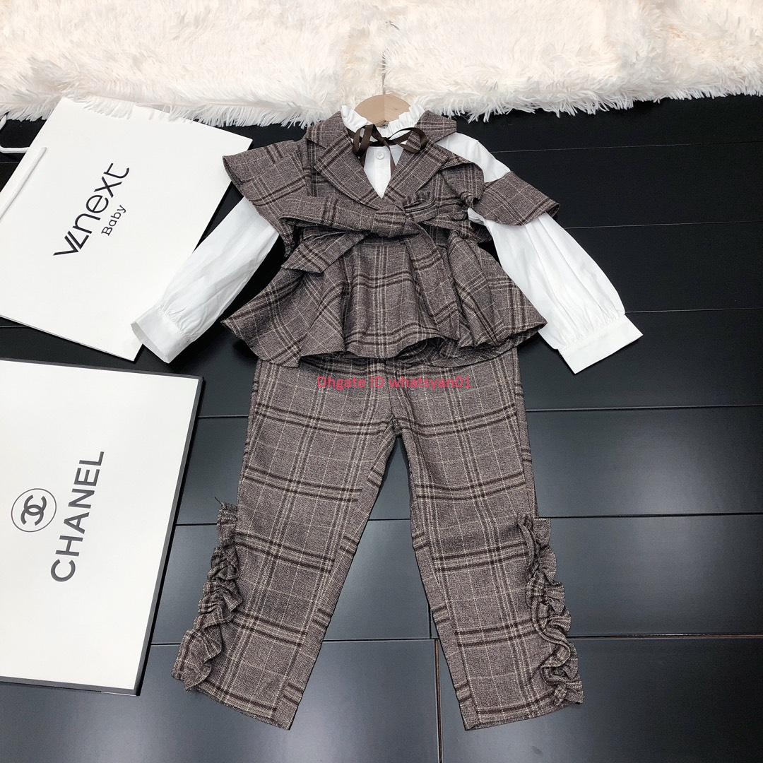 New Girls casual pants sets autumn kids designer clothing fake two-piece shirt + casual pants 2pcs stripes sets