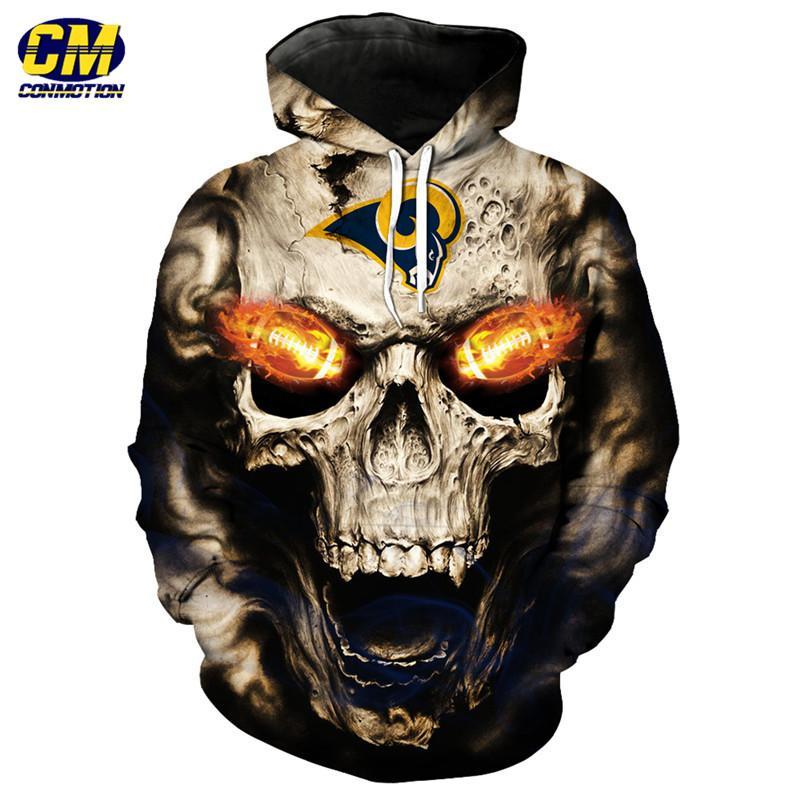 dc29023cd Roaring Skull Pullover Fashion Los Angeles Rams Hooded Sweatshirt ...
