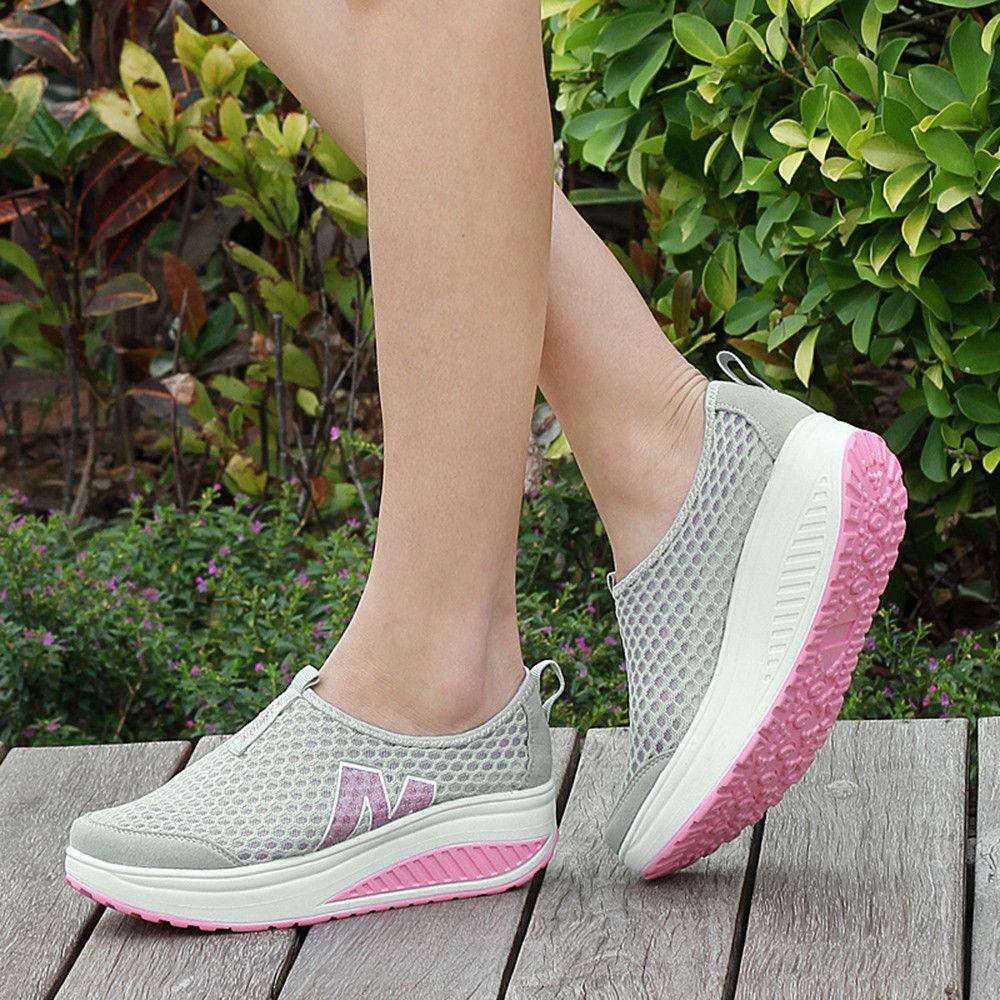 d4d8775f8fc Compre Ocio Mujer Moda Plataforma Zapatos Mocasines Transpirable Malla De  Aire Columpios Cuñas Zapatos Deportes Zapatillas De Deporte Chaussures  Femme A ...